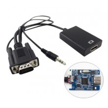 Adaptador VGA para HDMI 1080p HD com audio HDTV monitor