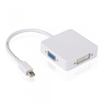 Adaptador 3 em 1 Mini Displayport para HDMI VGA e DP Mac Pro Air